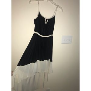 Black and Cream High Low Dress